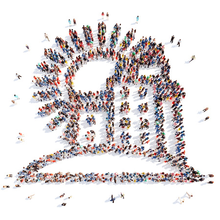 overcrowded: Large group of people in the form of the city. Isolated, white background. Stock Photo