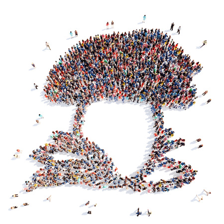 crowded space: Large group of people in the form of the fungus. Isolated, white background. Stock Photo