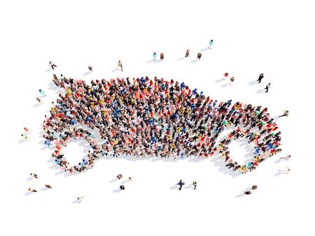 Große Gruppe von Menschen in der Form des Autos. Abgelegen, weißen Hintergrund.