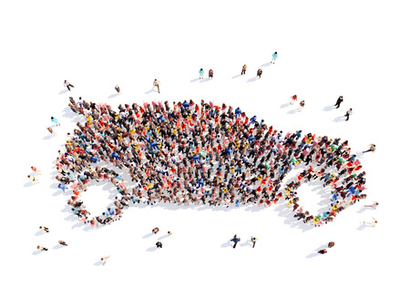 Large group of people in the form of the car. Isolated, white background.
