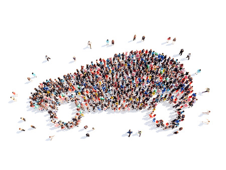 Large group of people in the form of a car. Isolated, white background. photo
