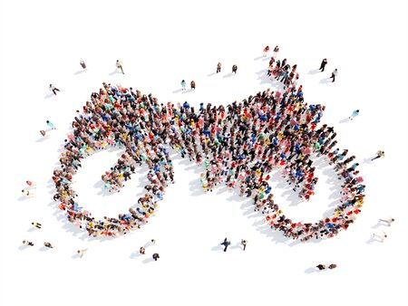 Large group of people in the form of a motorcycle. Isolated, white background. photo