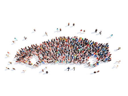 Large group of people in the form of a car. Isolated, white background.