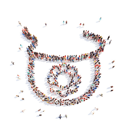 Large group of people in the form of childrens bib. Isolated, white background. photo
