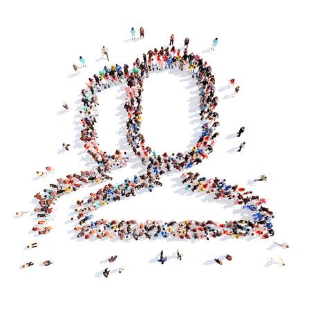 Un gran grupo de personas en la forma de un hombre. Aislado, fondo blanco. Foto de archivo