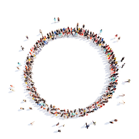 group cooperation: A large group of people in a circle of interest. Isolated, white background.