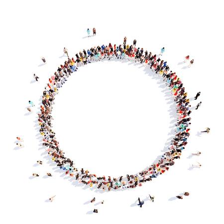 circulo de personas: Un gran grupo de personas en un c�rculo de inter�s. Aislado, fondo blanco. Foto de archivo