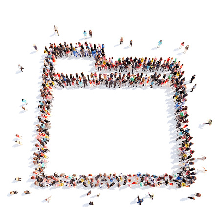filling folder: Large group of people in the form of a folder. Isolated, white background. Stock Photo