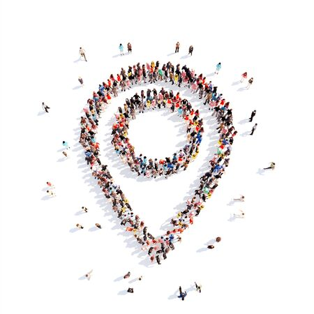 masses: Large group of people in the form of a map pointer. White background. Stock Photo