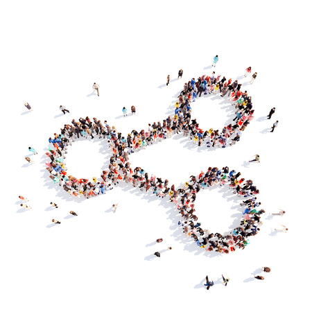 large group of business people: Large group of people in the form of an abstract symbol business. Isolated, white background.