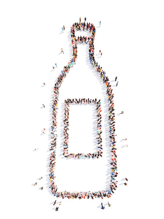 prescribed: Large group of people in the form of a bottle. Isolated, white background.