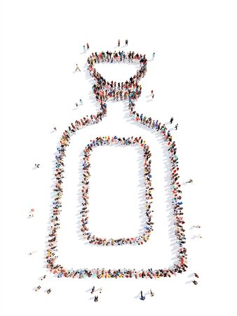 brandy: Large group of people in the form of brandy bottle. Isolated, white background.