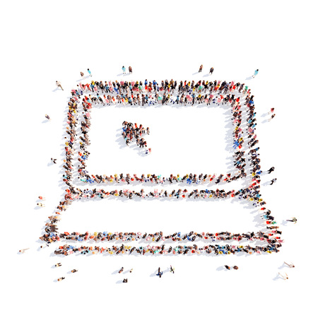A large group of people in the form of a computer. Isolated, white background. Banque d'images