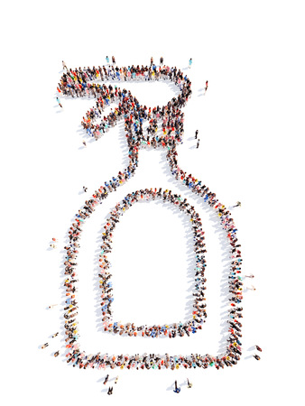 Large group of people in the form of plastic bottles. Isolated, white background. photo