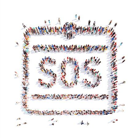 fraudster: Grande gruppo di persone in forma di compresse SOS. Isolato, sfondo bianco. Archivio Fotografico