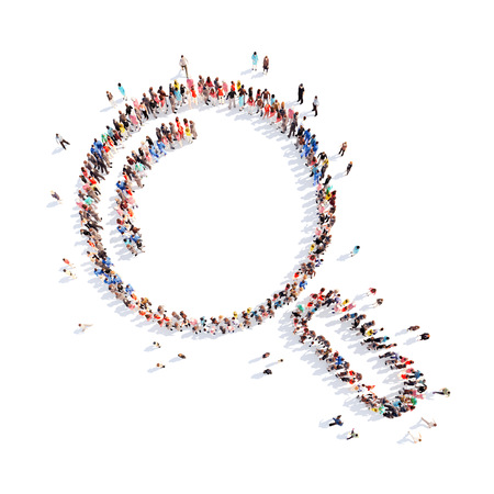 Large group of people in the form of a magnifying glass. Isolated, white background.