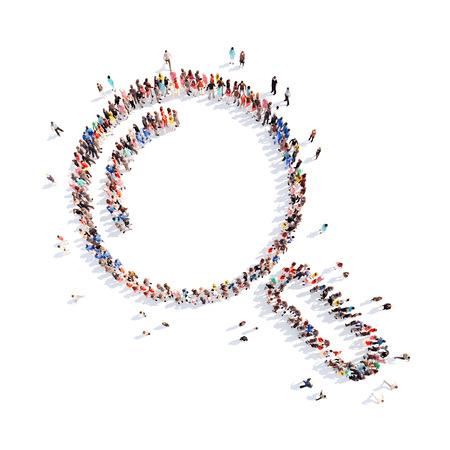 dinero falso: Gran grupo de personas en la forma de una lupa. Aislado, fondo blanco. Foto de archivo