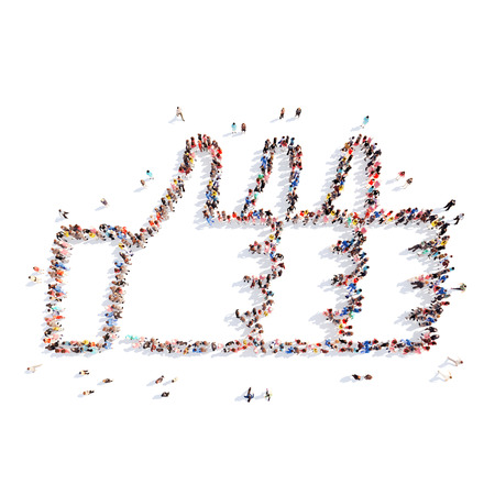 Large group of people in the form of a triple Like. Isolated, white background.