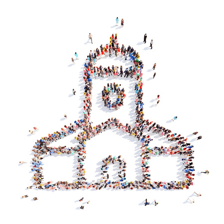 Large group of people in the form of the church. Isolated, white background.