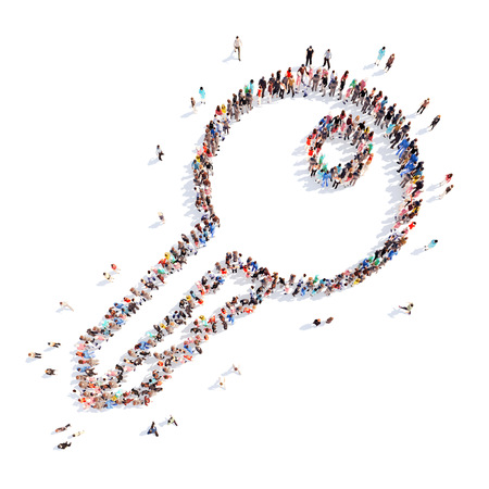 Large group of people in the form of a key. Isolated, white background.