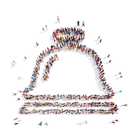 Large group of people in the form of Cloche. Isolated, white background.