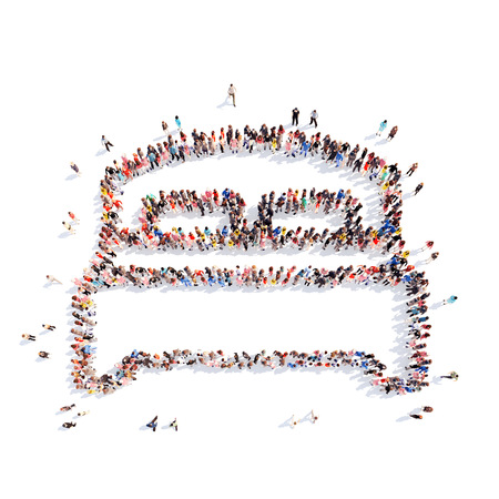 Large group of people in the form of bed. Isolated, white background.