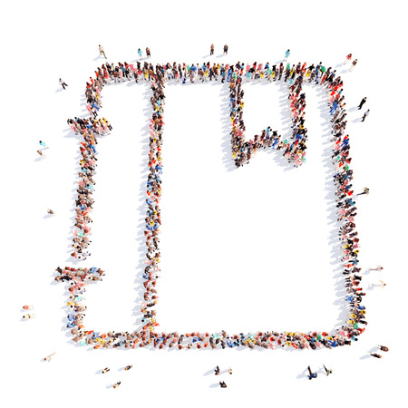Large group of people in the form of a folder. Isolated, white background. photo