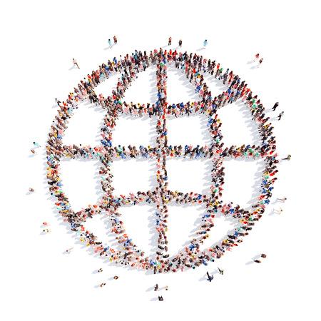 Grande grupo de pessoas na forma do globo. Isolado, fundo branco.