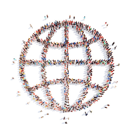 Large group of people in the form of the globe. Isolated, white background.