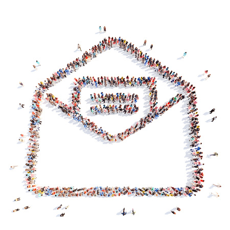 A large group of people in the form of a letter. Isolated, white background. photo