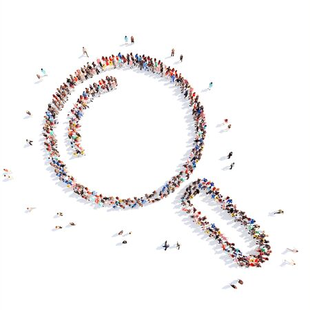 Large group of people in the form of a magnifying glass. Flashmob, isolated, white background. photo