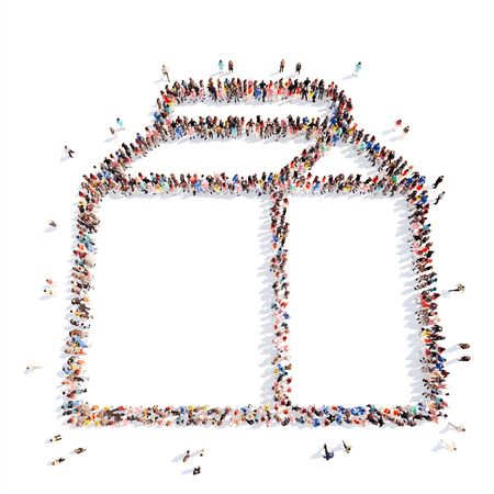time sharing: Large group of people in the form of a paper bag. Isolated, white background.