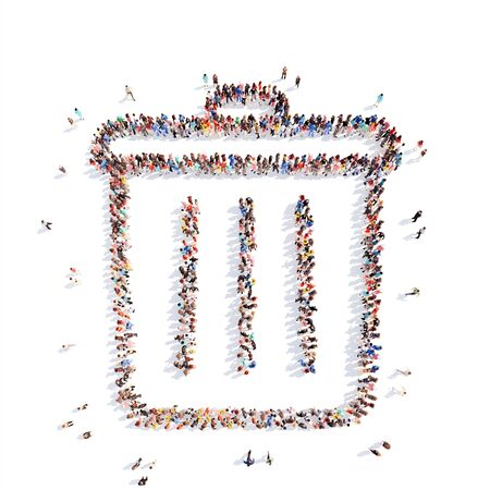 wastepaper basket: Large group of people in the form of the trash. Isolated, white background.