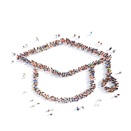 Large group of people in the form of hats student. Isolated, white background. photo