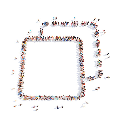 Large group of people in the form of an abstract symbol business. Isolated, white background. Stock Photo - 39314608