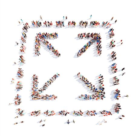 up marker: Large group of people in the form of arrows, business, and technology. Isolated, white background.