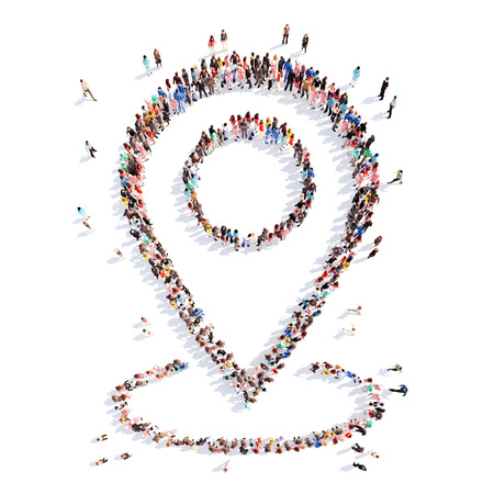Large group of people in the form of arrows, business, and technology. Isolated, white background.