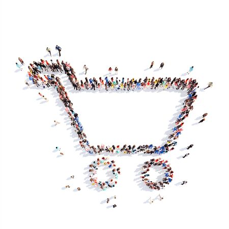 consumer society: Large group of people in the form of a basket. Isolated, white background.