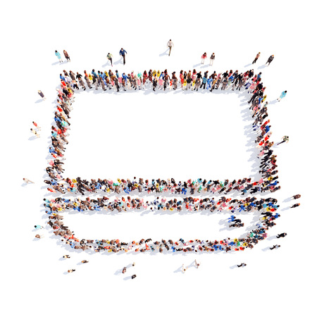 bulimia: Large group of people in the shape  of a monitor. Flashmob, isolated, white background.