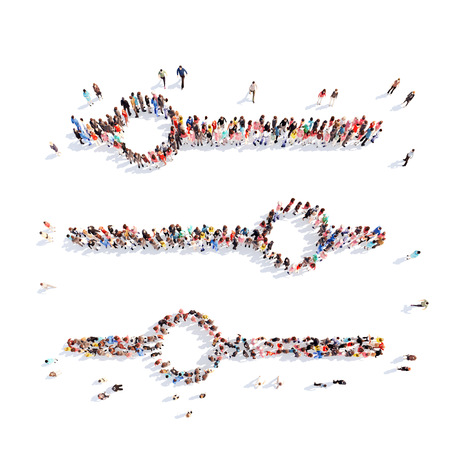 toggle switch: Large group of people in the form of a toggle switch. Isolated, white background.