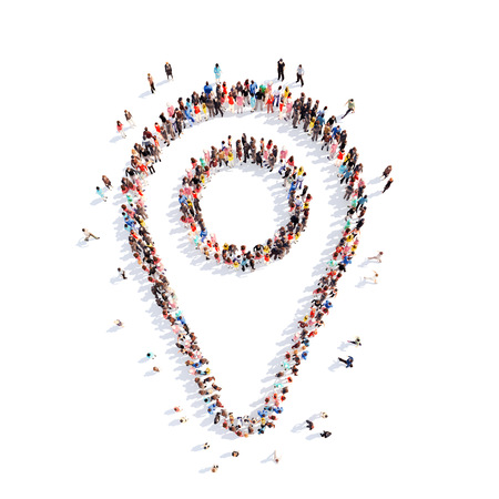 Large group of people in the form of a map pointer. White background. Banque d'images
