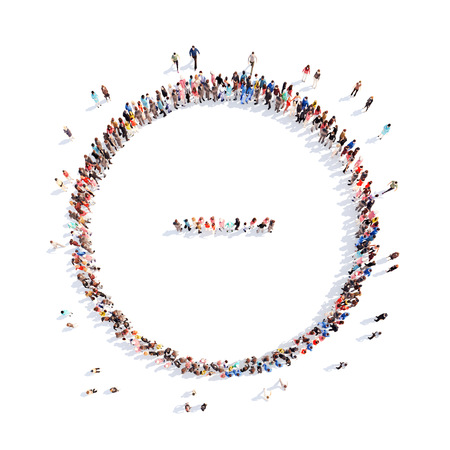 Large group of people in the form of mathematical operations. Isolated, white background.