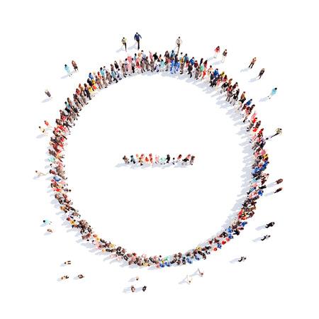 Grote groep mensen in de vorm van wiskundige bewerkingen. Geïsoleerd, witte achtergrond.