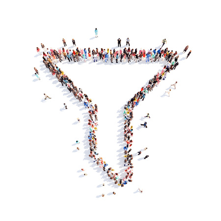 warm up: A large group of people in the form of a funnel. Isolated, white background. Stock Photo