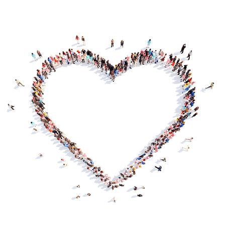 Grote groep mensen in de vorm van harten, liefde. Geïsoleerd, witte achtergrond.