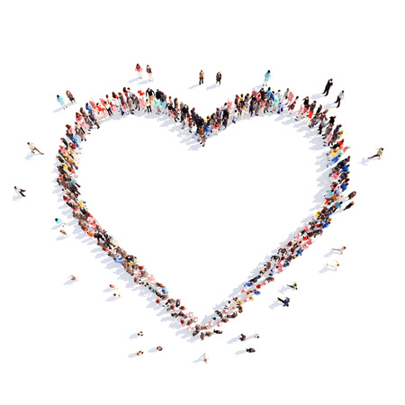Large group of people in the form of hearts, love. Isolated, white background. Stock fotó - 39314944