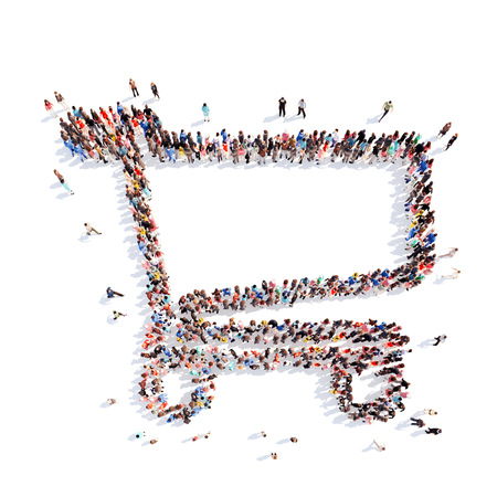 overcrowded: Large group of people in the form of a basket. Isolated, white background.