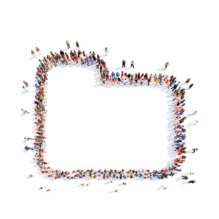 dues: Large group of people in the form of a folder. Isolated, white background. Stock Photo