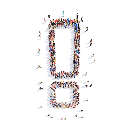 tumult: Large group of people in the form of an exclamation mark. Isolated, white background. Stock Photo