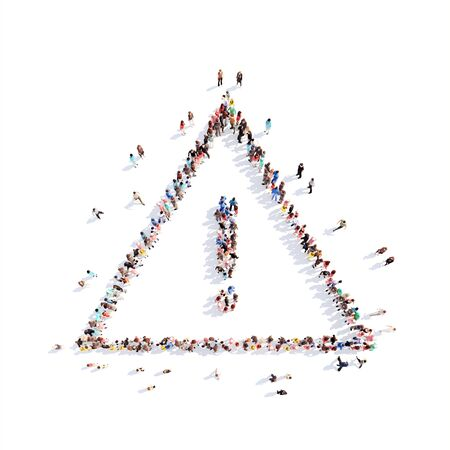 Large group of people in the form of signs of attention. Isolated, white background.